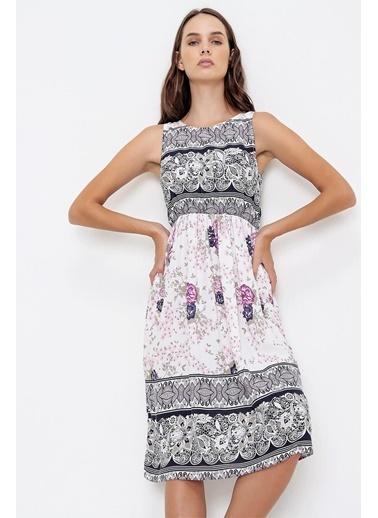 Pink Park Beli Lastikli Kolsuz Desenli Dokuma Elbise CT00005 Pudra